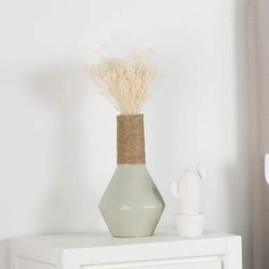 Jarra cinza cerâmica decoração 15x15x29