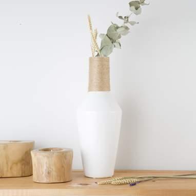 Jarra branca cerâmica decoração 15,50x15,50x41
