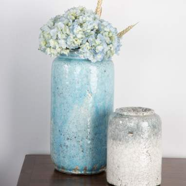 Jarrón turquesa cerámica decoración 17 x 17 x 36 cm