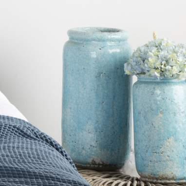 Vaso turchese ceramica decorazione 19,50x19,50x41cm