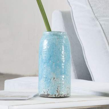 Jarrón turquesa cerámica decoración 12,50x12,50x25,50 cm