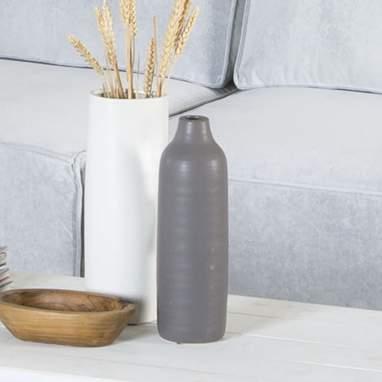 Bolsis jarrón mate gris cerámica 9x9x30