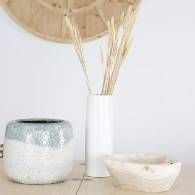 Mirfes jarrón mate blanco cerámica 10,50x10,50x31,50