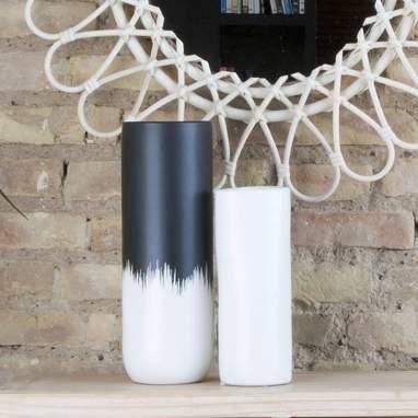 Loers vaso opaco nero-bianco ceramica