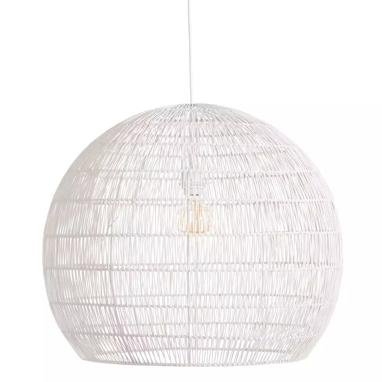 Helok white metal-ratan lamp