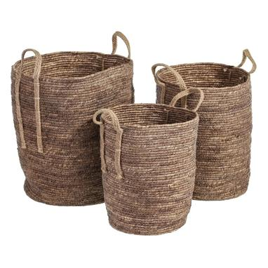City set 3 paniers marron fibre naturelle