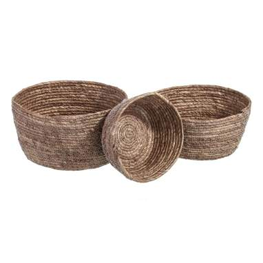 Xaly set 3 fibre natural brown baskets