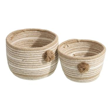 Blon set 2 natural-white jute-cotton basquets