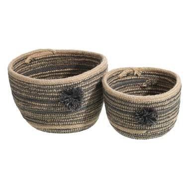 Fust set 2 cotton natural yute baskets