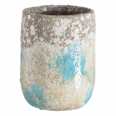 Kimp blue-cream ceramic flowerpot