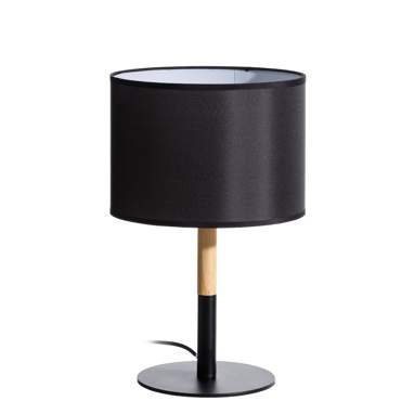 Noir black metal/wood table lamp