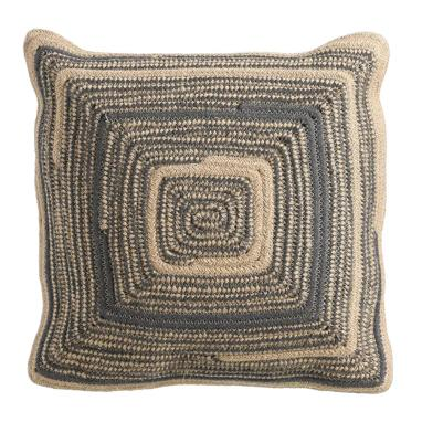 Sisc natural-blue jute-cotton pouf cushion