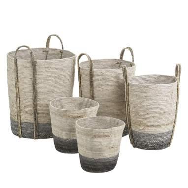 Posles s/5 cestos cinza-branco fibra