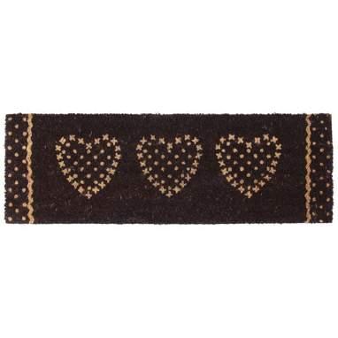 Kiop capacho corações cinza fibra de côco 75x25cm