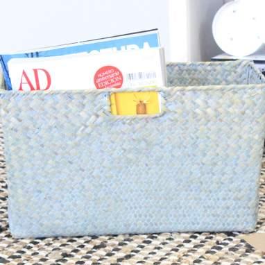 Pety cesta azul junco entrelaçado