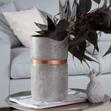 Gop vaso pianta grigio-oro cemento 15x15x25cm