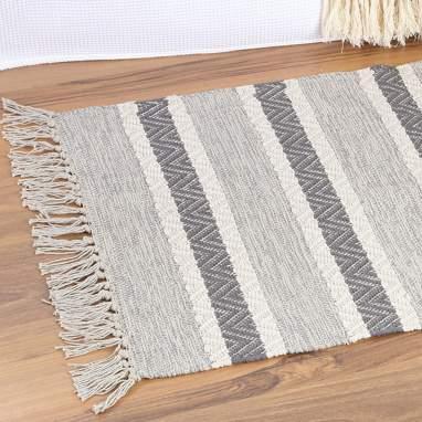 Flek alfombra flecos gris