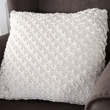 Sask beige crochet cushion