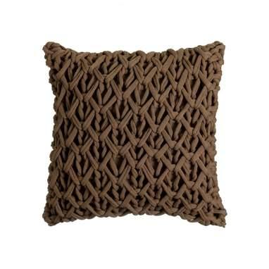 Fiyu almofada crochê marrom 45x45 cm