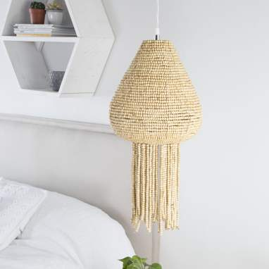 Natural wooden beads lamp