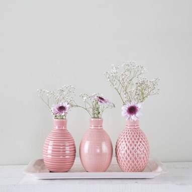 Tinas porta-velas rosa losangos