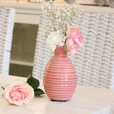Tinas porta-velas rosa listras