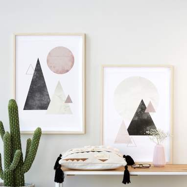 Set 2 geometric figures prints