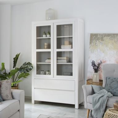 Liland ivory white double cabinet