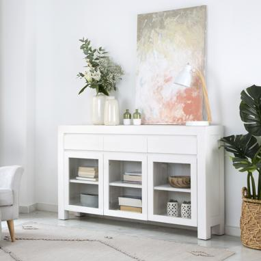 Liland ivory white narrow sideboard