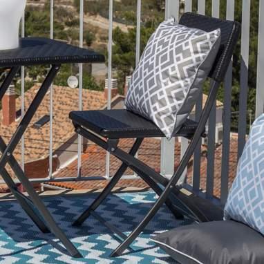 Klor chaise pliante synthétique noir