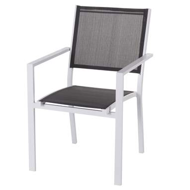 Siba chaise superposable aluminium blanc-textilène gris