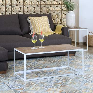 Nordic white metal coffee table