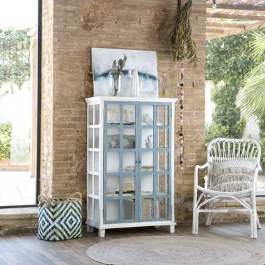 Fiord double glass cabinet w/grille