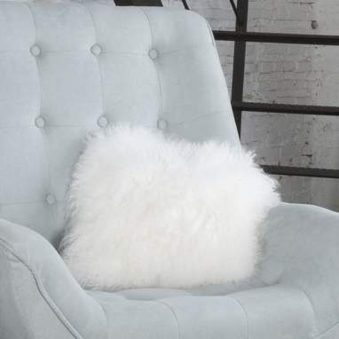 Wake white lamb fur cushion