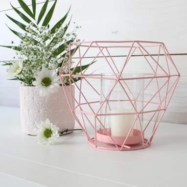 Gario porta velas rosa