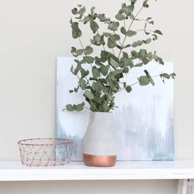 Krist vase pierre bande cuivre