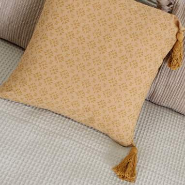 Hohe coussin style moutarde 40x40