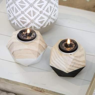 Kemel conjunto 2 porta velas bicolor