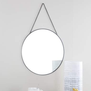 Tylek espelho redondo metálico preto 38x38