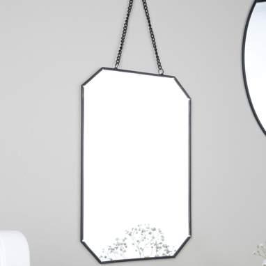 Niubo miroir rectangular metálico preto