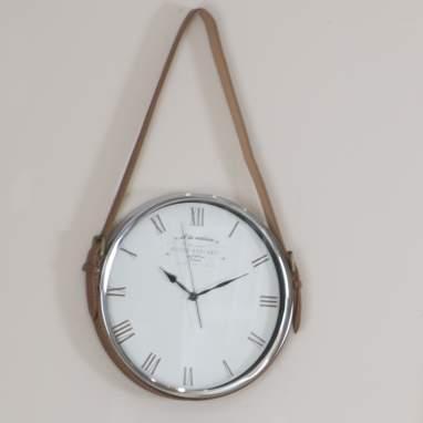 Timp horloge rond suspendu en cuir