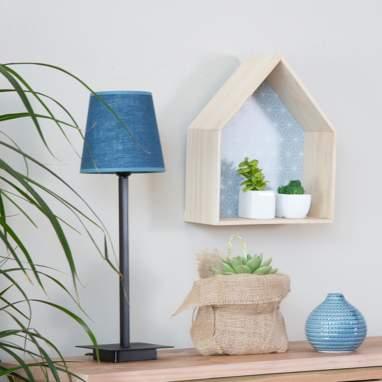 Nannu lampada da tavolo lino azzurro