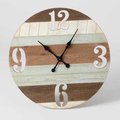 Frane striped wooden clock d71cm