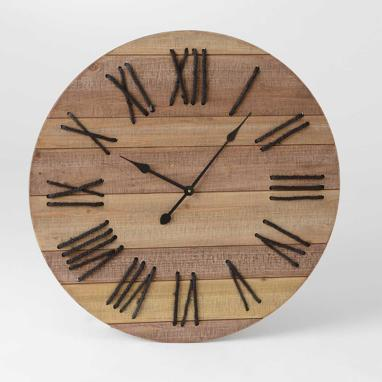 Faxy black wood rop clock