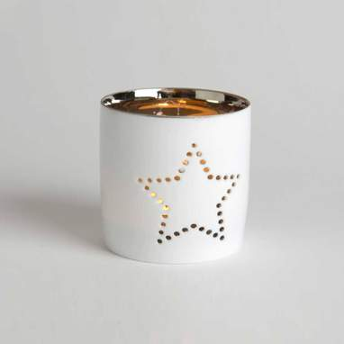 Star white christmas candle holder