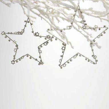 Sarey set 2 estrella colgantes  plata