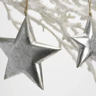 Niscal kit 2 estrelas p/pendurar prata