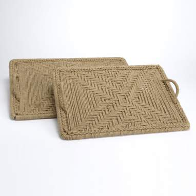 Land set 2 jute metal tray