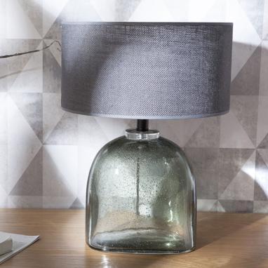 Brei lampe verre/jute
