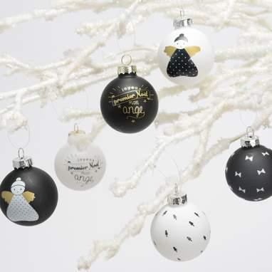 Tixta box 6 white/black christmas bolls